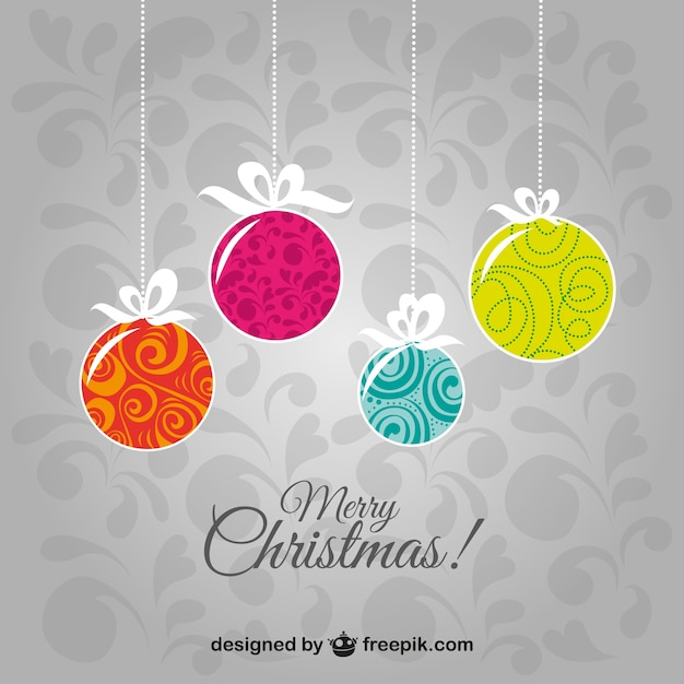 Merry christmas vintage background with balls Free Vector