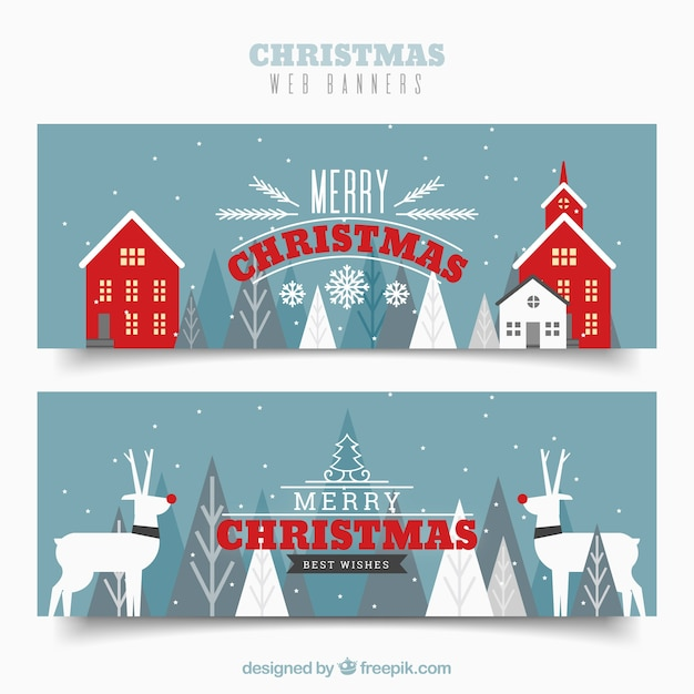 Merry Christmas Vintage Banners Free Vector