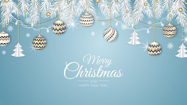 メリークリスマスのウェブバナー、金と赤のクリスマスボール。招待状や季節の挨拶の背景。 Premiumベクター