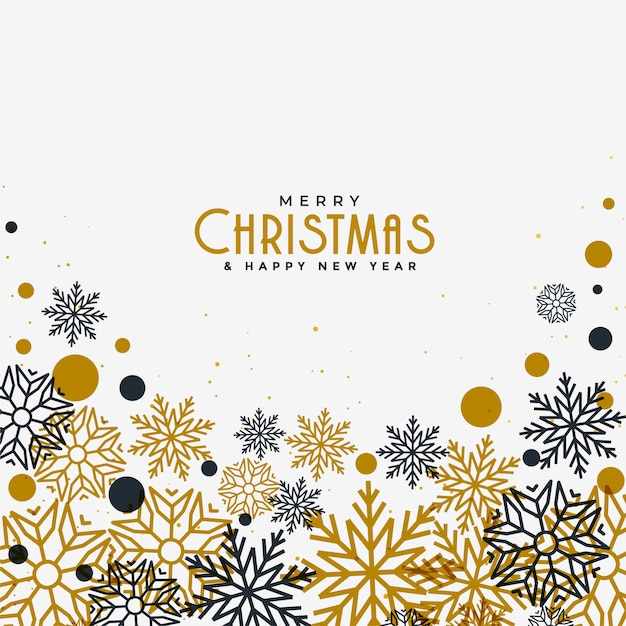 Merry christmas white background with gold and black snowflakes Free Vector
