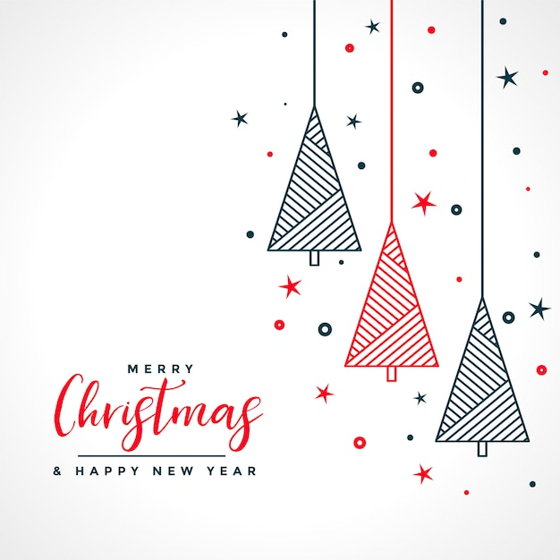 Merry christmas white card with red and black tree Free Vector