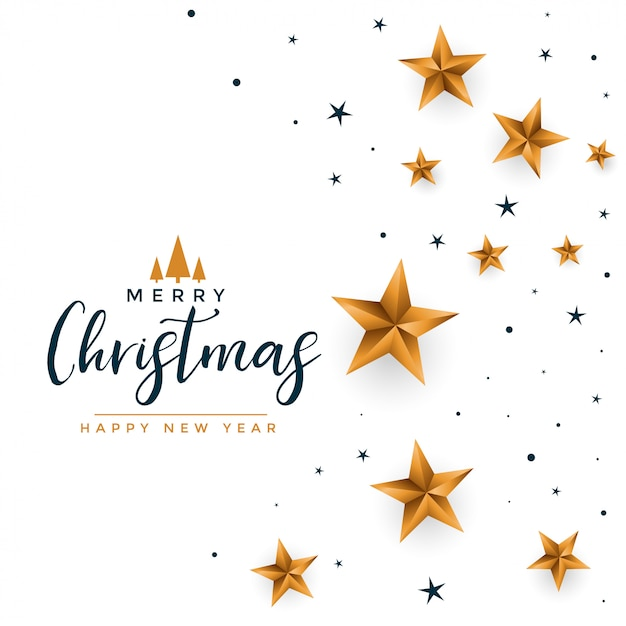 Merry christmas white greeting with golden stars Free Vector