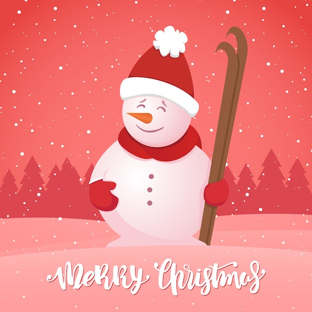 메리 크리스마스. 눈 덮인 숲 배경에 스키와 눈사람 겨울 인사말 카드. 프리미엄 벡터