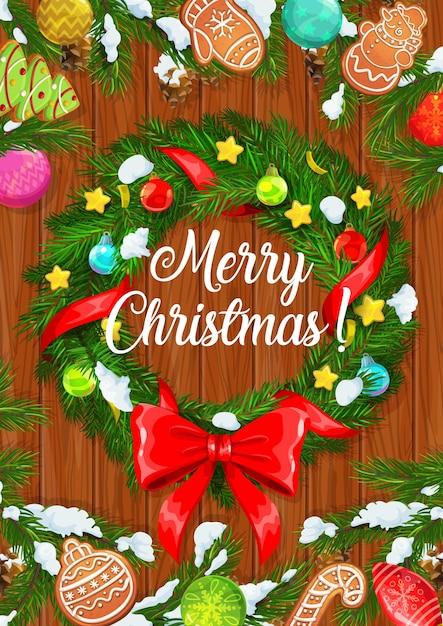 メリークリスマス、冬休みクリスマスツリーリース、ボール飾りと赤いリボンの弓。 Premiumベクター