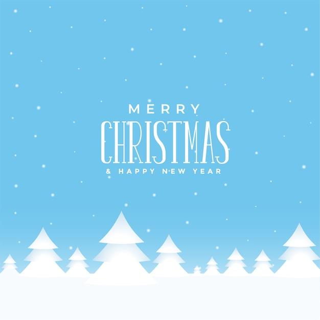 Счастливого рождества зимний пейзаж фон с елкой Бесплатные векторы