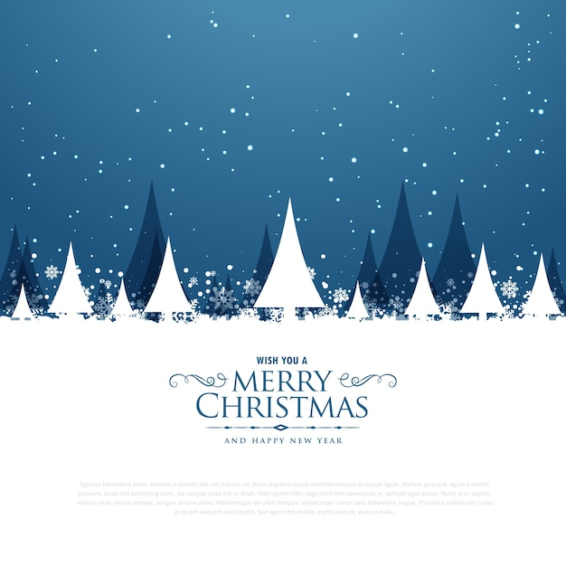 Merry christmas winter landscape scene with trees and falling snow Free Vector