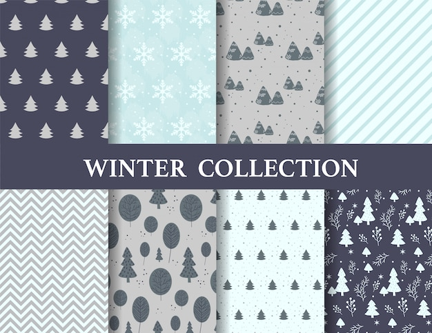 Merry christmas and winter patterns. Premium Vector