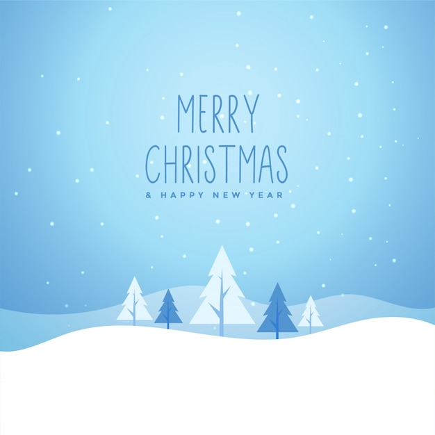 Merry christmas winter snowly scene with trees Free Vector