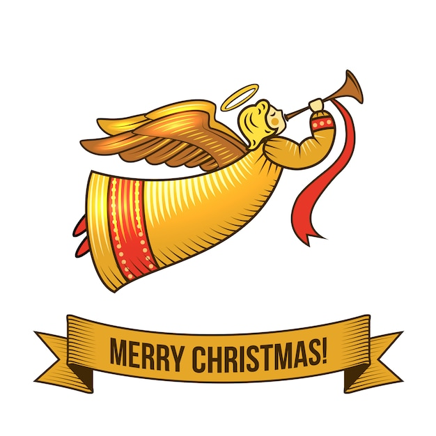 Merry christmas with angel retro illustration Free Vector