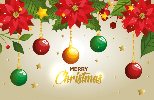Merry christmas with balls hanging and decoration card Free Vector