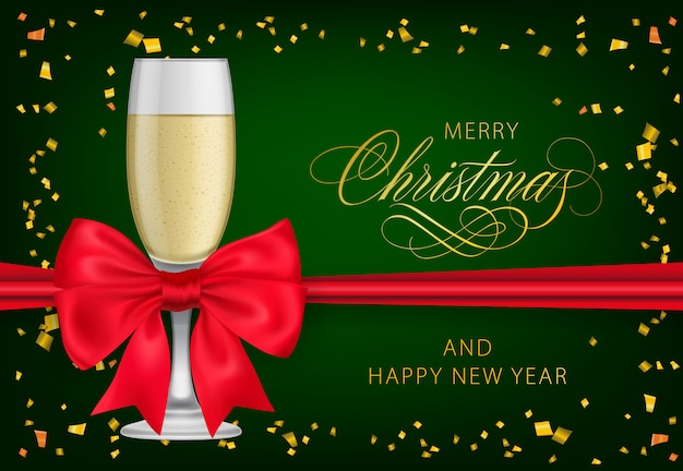Merry christmas with champagne glass Free Vector