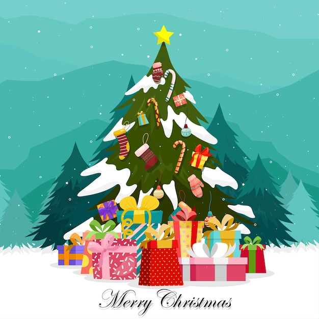 Merry christmas with colorful gift boxes adorned on the christmas tree. Free Vector