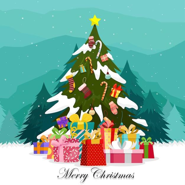 Buon natale con scatole regalo colorate adornate sull'albero di natale. Vettore gratuito