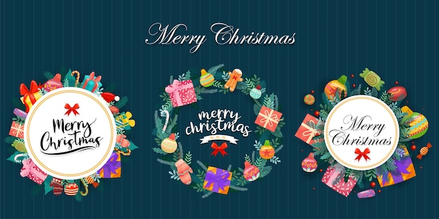 Merry christmas with colorful gift boxes decorated in circles Free Vector