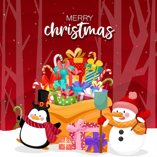 Merry christmas with colorful gift boxes and pine tree Free Vector