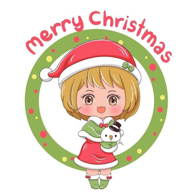 Merry christmas with cute girl Premium Vector
