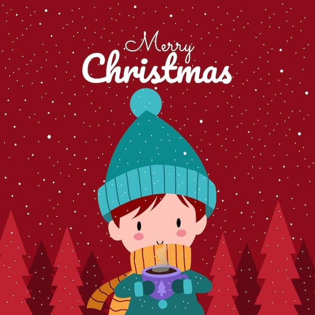 Merry christmas with cute kawaii hand drawn boy wearing winter costume Premium Vector