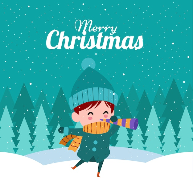 Merry christmas with cute kawaii hand drawn boy with a pipe Premium Vector