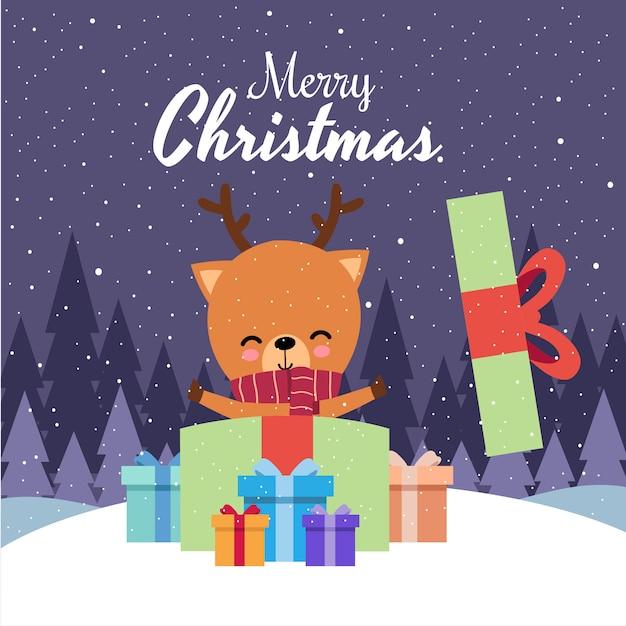 Merry christmas with cute kawaii hand drawn deer wearing red scarf Premium Vector