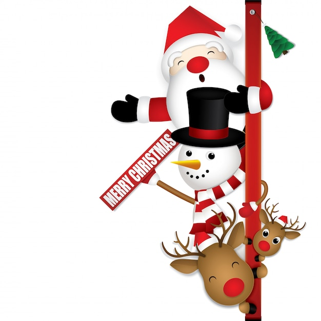 Merry christmas with cute santa claus reindeer and snowman. Premium Vector