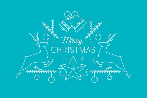 Merry christmas with decoration and reindeer Free Vector
