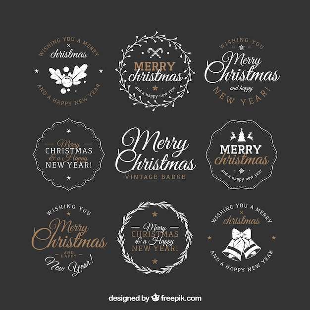 Merry christmas with decorative badges in vintage style