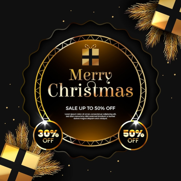 Merry christmas with fifty percent off Free Vector