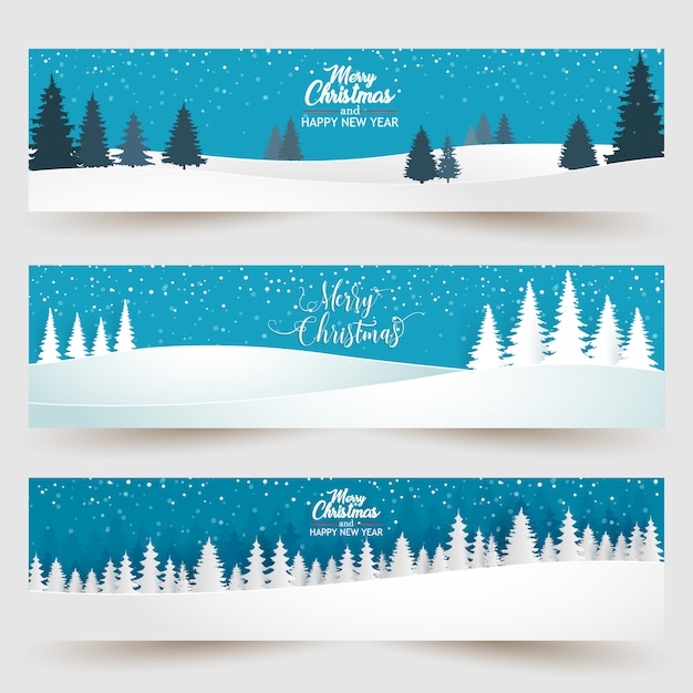 Merry christmas with forest background Premium Vector