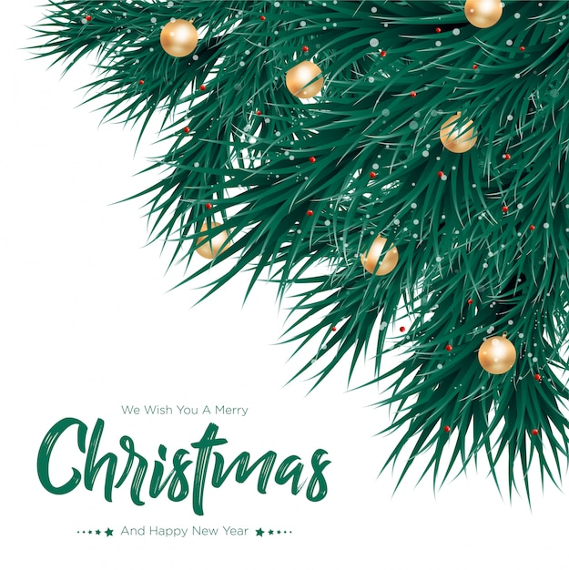 Merry christmas with gold balls background Premium Vector