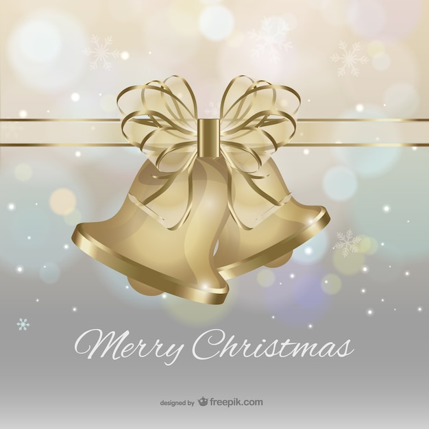 Merry Christmas with golden bells and bow\ vector