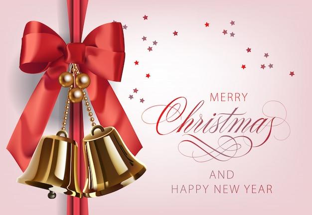 Merry christmas with golden bells Free Vector