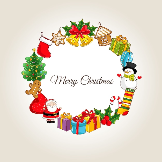 Счастливого рождества с праздничными атрибутами Premium векторы