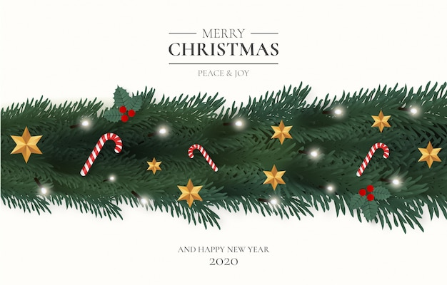 Merry christmas  with ornaments Free Vector
