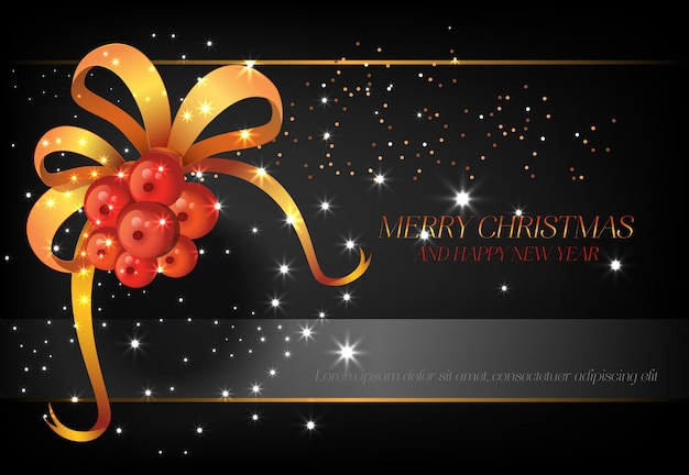 Merry christmas with red berries poster design Free Vector
