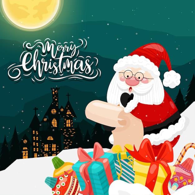 산타 클로스와 집과 달이있는 눈에 다양한 선물 상자가있는 메리 크리스마스 무료 벡터
