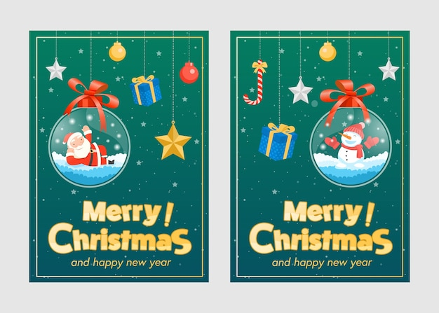 Merry christmas with santa claus gifts template greeting card, glass ball hanging. Free Vector