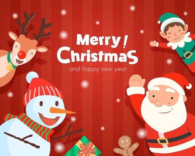 サンタクロースギフトテンプレートグリーティングカードとメリークリスマス 無料ベクター