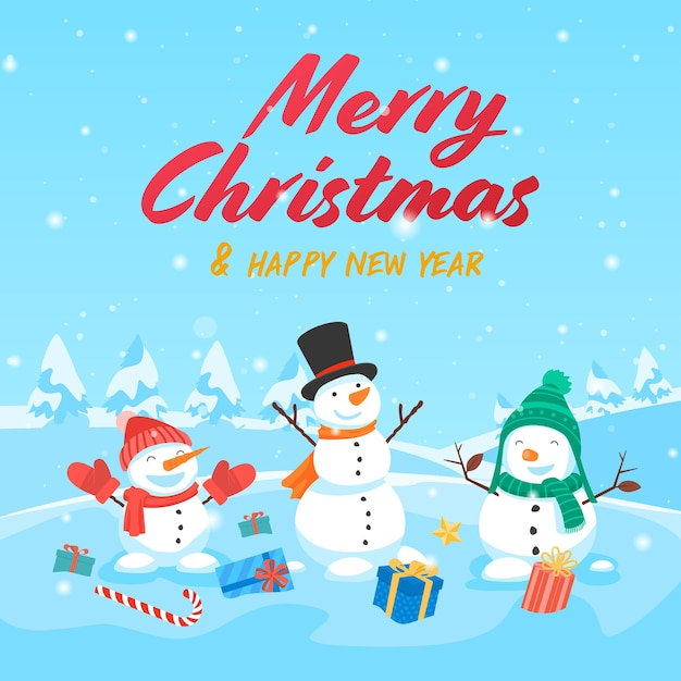 Merry christmas with santa claus gifts template greeting card Free Vector
