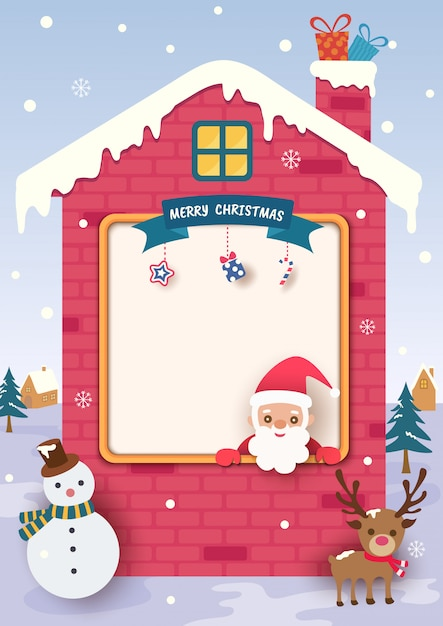 Merry christmas with santa claus and house frame on snow. Premium Vector