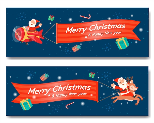 Счастливого рождества с санта-самолетом баннер и санта-клаус верхом на олене. Бесплатные векторы