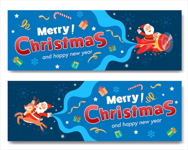 Merry christmas with santa plane banner and santa claus riding a reindeer. Free Vector
