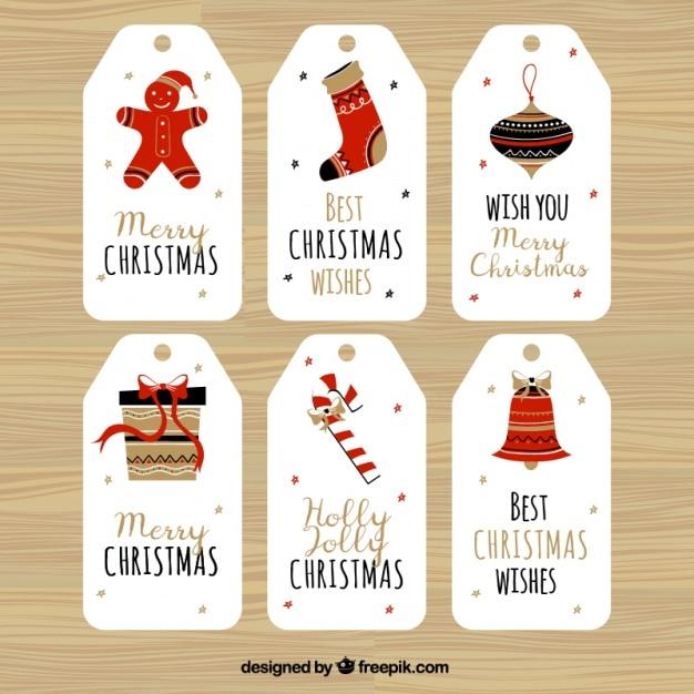 С рождеством с шестью удивительными этикетками Бесплатные векторы