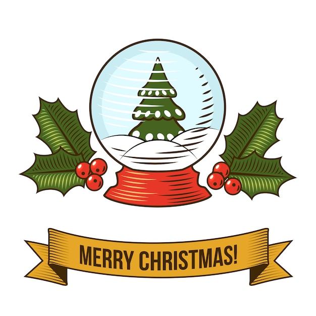 Merry christmas with snow globe retro illustration Free Vector