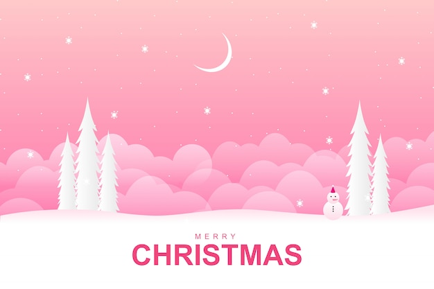 Merry christmas with with pink winter season background Premium Vector