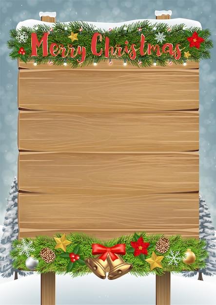 Merry christmas wood board sign Premium Vector