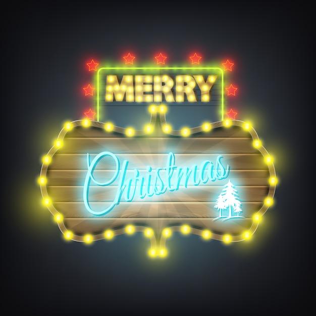Merry christmas wooden neon billboard Premium Vector
