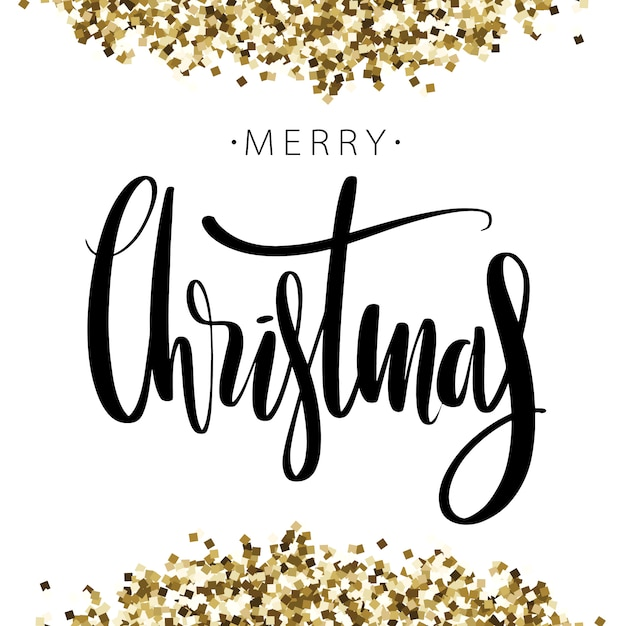 Merry christmas words on background with golden glitter. Premium Vector