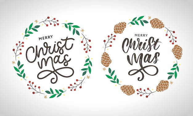Merry christmas wreath collection Premium Vector