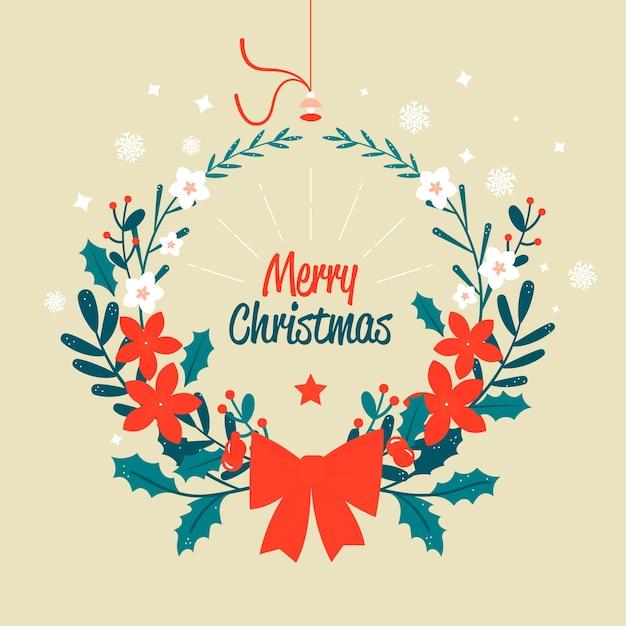 赤い弓リボンとメリークリスマスリース 無料ベクター