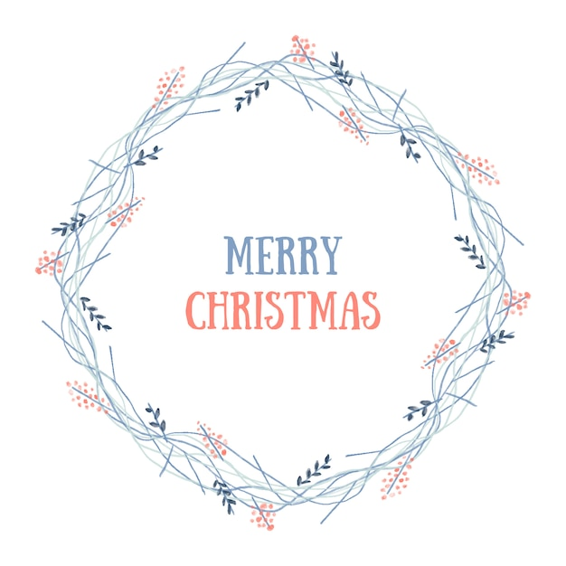 Merry christmas wreath Free Vector